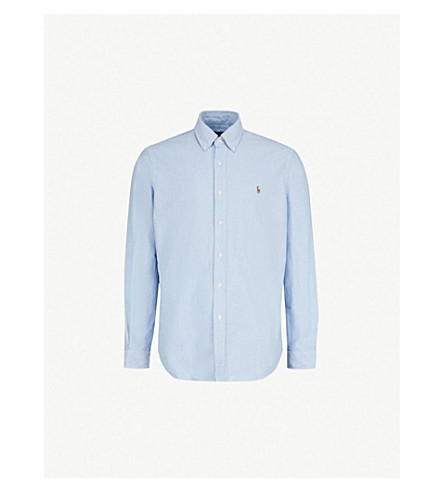 POLO RALPH LAUREN Striped standard-fit single cuff shirt (Bsr+blue