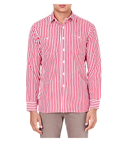 RALPH LAUREN Striped cotton-blend shirt (Su37a-red/white