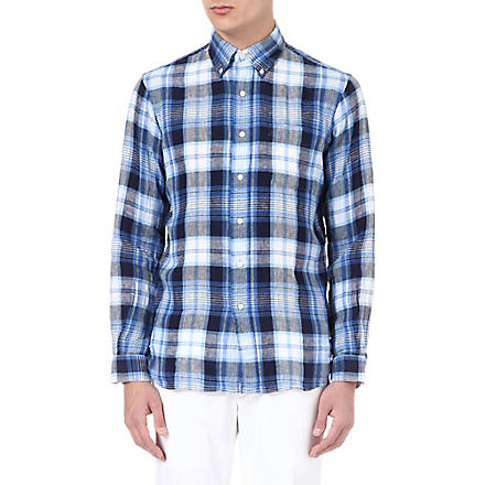 RALPH LAUREN Checked linen shirt (Cr51-navy/royal