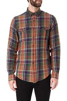 RALPH LAUREN Checked linen and silk-blend shirt