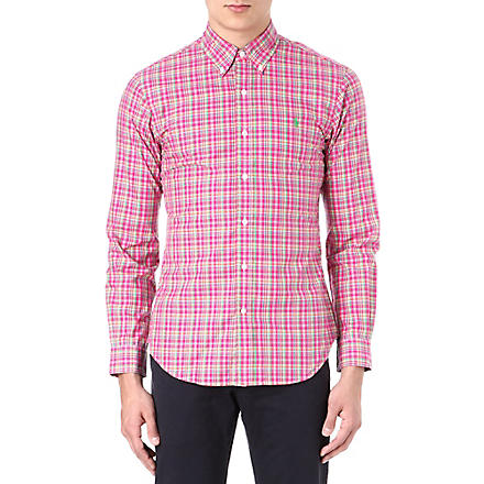 RALPH LAUREN Slim-fit button-down collar shirt (Cr36-pink/green