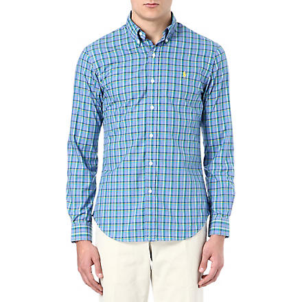 RALPH LAUREN Slim-fit button-down collar shirt (Cr37-blue/pink
