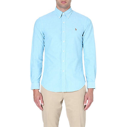 RALPH LAUREN Slim-fit button-down collar shirt (Azure(x)