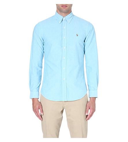 RALPH LAUREN Slim-fit button-down collar shirt (Azure(x)
