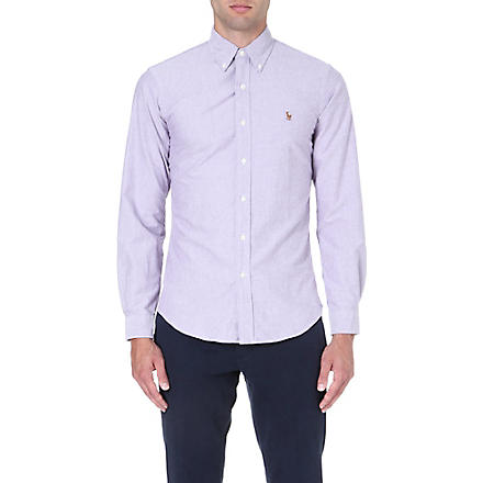 RALPH LAUREN Slim-fit button-down collar shirt (Crimson purple(