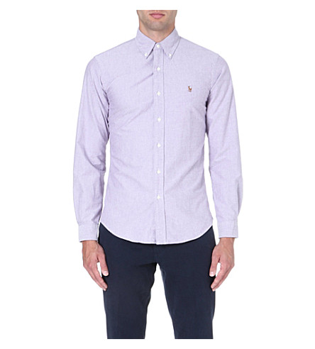 RALPH LAUREN Slim-fit button-down collar shirt (Crimson purple(