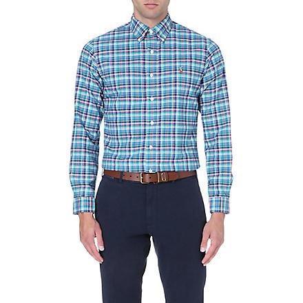 RALPH LAUREN Slim-fit button-down collar shirt (Fl13-turquoise/