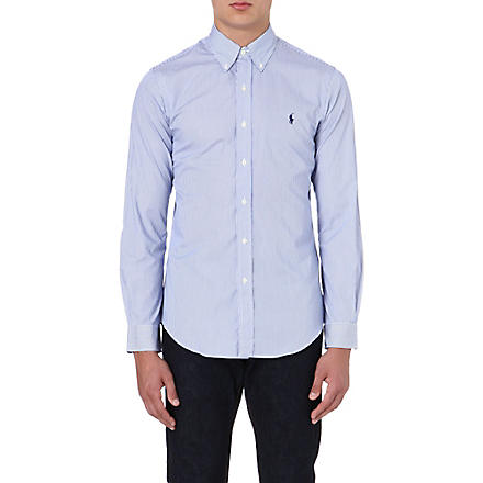 RALPH LAUREN Slim-fit cotton shirt (Fl200e-blue/whi