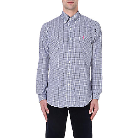 RALPH LAUREN Check print slim-fit single cuff cotton shirt (Fl143a-navy/whi