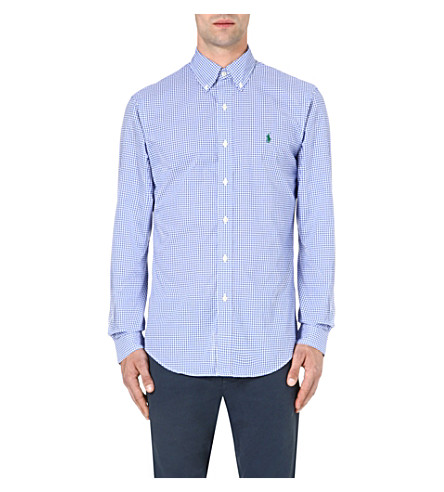 RALPH LAUREN Check print slim-fit single cuff cotton shirt (Fl143b-blue/whi