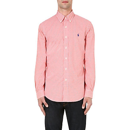 RALPH LAUREN Check print slim-fit single cuff cotton shirt (Fl143c-orange/w