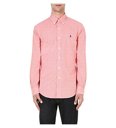 RALPH LAUREN Check print slim-fit single cuff cotton shirt (Fl143c-orange/w