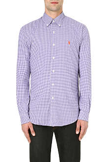 RALPH LAUREN Check print slim-fit single cuff cotton shirt