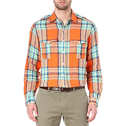 RALPH LAUREN Buttoned shoulder checked shirt (Cr49b-orange/na