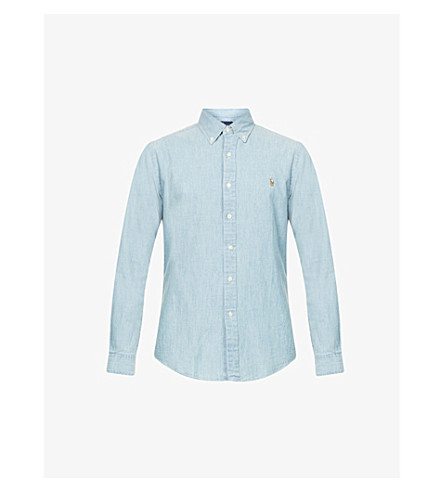 POLO RALPH LAUREN Slim-fit single-cuff denim shirt (Medium+wash