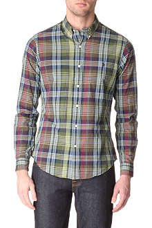 RALPH LAUREN Plaid slim–fit single cuff shirt