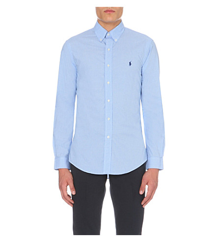 POLO RALPH LAUREN Logo-embroidered slim-fit cotton shirt (Blue+wh+chec