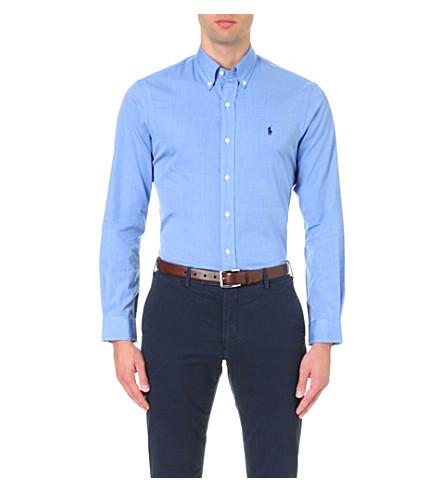algodón LAUREN con Vestido RALPH slim de POLO fit azul Camisa bordada logo HqOCxYw