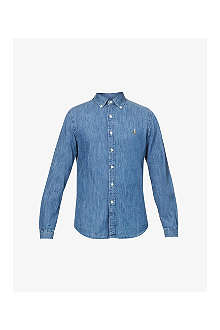 RALPH LAUREN Slim-fit denim sport shirt