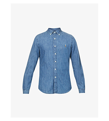 POLO RALPH LAUREN Slim-fit denim sport shirt (Dark+wash