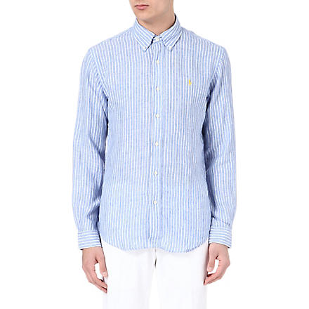 RALPH LAUREN Slim fit striped linen shirt (Cr52a-blue/whit