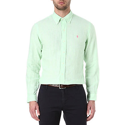 RALPH LAUREN Slim fit striped linen shirt (Cr52c-lime/whit