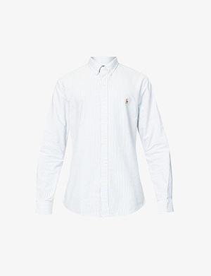 RALPH LAUREN Striped Oxford fit single cuff shirt