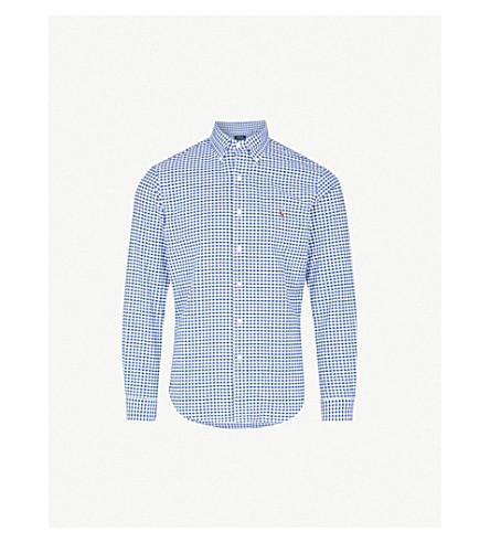 POLO RALPH LAUREN Embroidered logo slim fit single cuff shirt (Blue/white