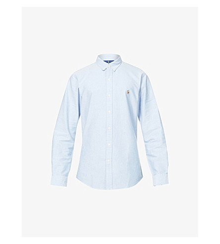 RALPH LAUREN Embroidered–logo slim fit single cuff shirt (Bsr+blue