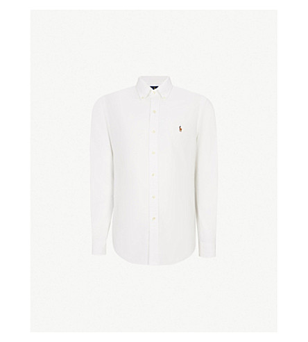 POLO RALPH LAUREN Embroidered logo slim fit single cuff shirt (White