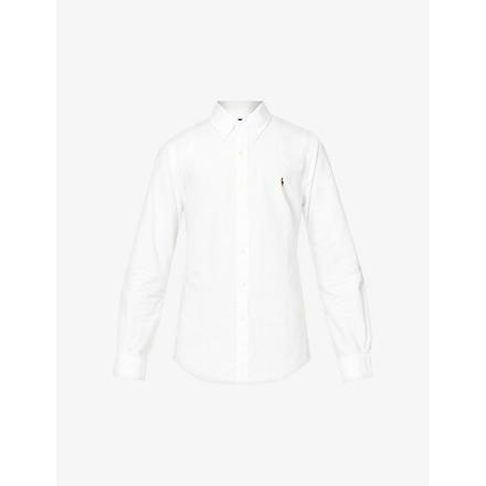 RALPH LAUREN Embroidered–logo slim fit single cuff shirt (White