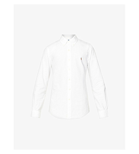 POLO RALPH LAUREN Embroidered logo slim fit single cuff shirt (White