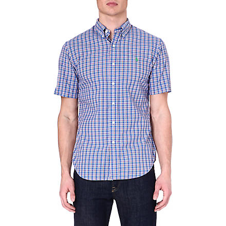 RALPH LAUREN Slim-fit short-sleeved shirt (Su68a-blue/oran