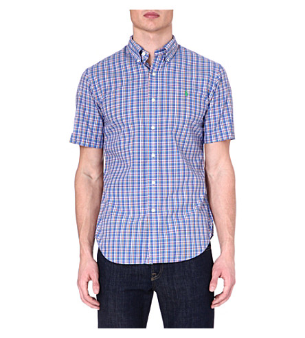 RALPH LAUREN Slim-fit short-sleeved shirt (Su68a-blue/oran