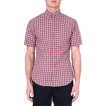 RALPH LAUREN Slim-fit short-sleeved shirt (Su68b-red/green