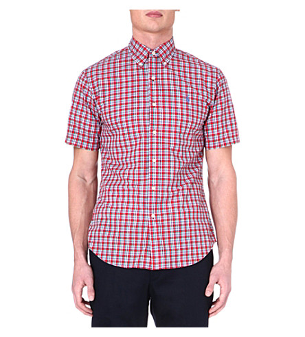 RALPH LAUREN Slim-fit short-sleeved shirt (Su68b-red/green