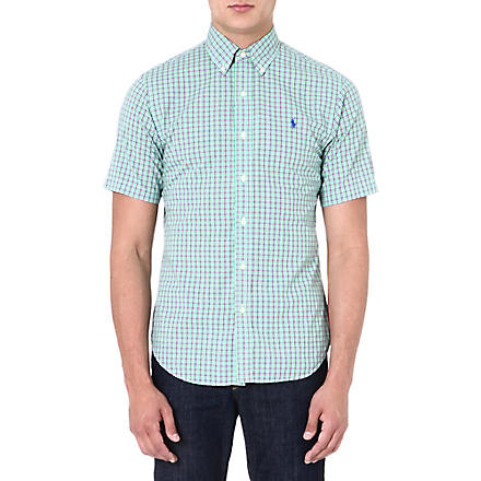 RALPH LAUREN Slim-fit short-sleeved shirt (Su69-lime/orang