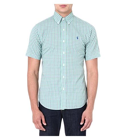 RALPH LAUREN Slim-fit short-sleeved shirt (Su69-lime/orang