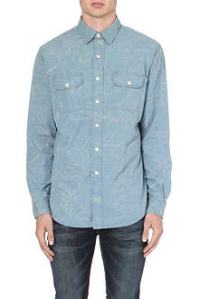 RALPH LAUREN Map print regular-fit cotton shirt