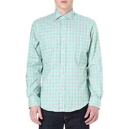 RALPH LAUREN Checked cotton shirt (Sp144-green/blu