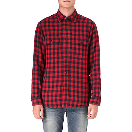 RALPH LAUREN Checked cotton work shirt (Fl-227b+red/bla