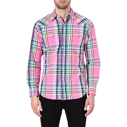 RALPH LAUREN Western checked shirt (Cr11-pink/navy