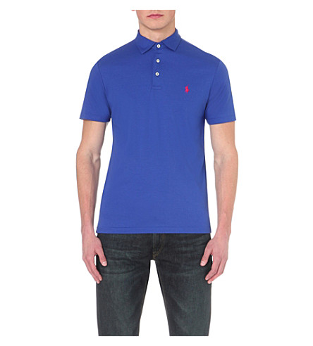 POLO RALPH LAUREN Logo-embroidered cotton-jersey polo shirt (Blue