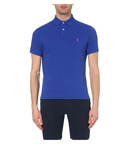 POLO RALPH LAUREN Custom-fit cotton-mesh polo shirt (Bright+royal