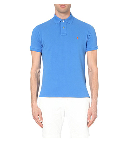 POLO RALPH LAUREN Custom-fit cotton-piqué polo shirt (Cyan+blue