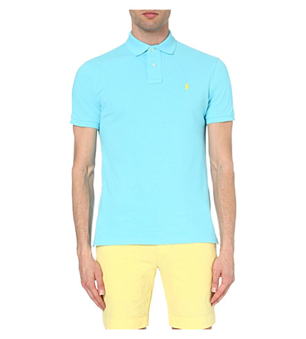 POLO RALPH LAUREN Custom-fit cotton-mesh polo shirt (Turquoise