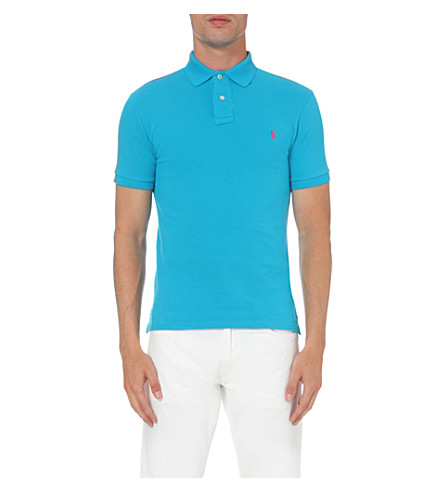 POLO RALPH LAUREN Slim-fit cotton-mesh polo shirt (Blue