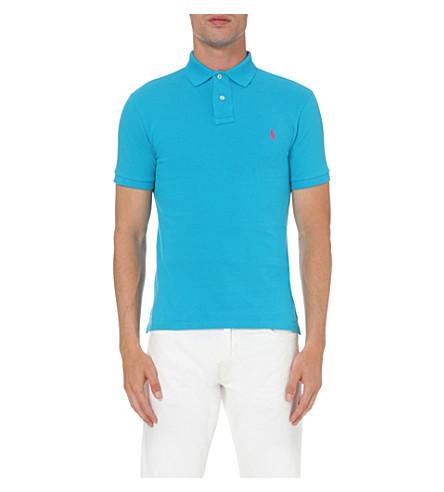 POLO RALPH LAUREN 修身版型配棉网马球衫 (蓝色