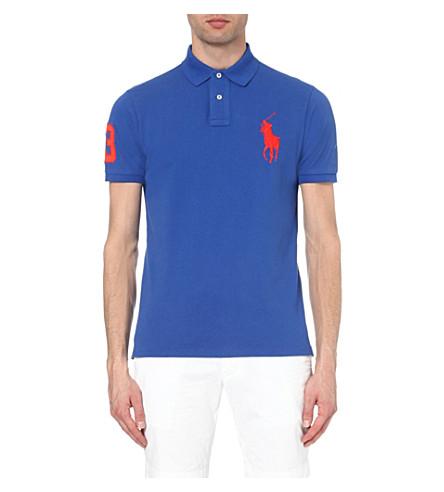 POLO RALPH LAUREN Custom-fit cotton-piqué polo shirt (Blue