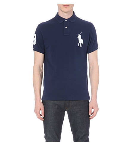 POLO RALPH LAUREN Custom-fit cotton-mesh polo shirt (Newport+navy/wh